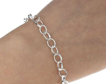 d88bc69e628 Silver Chain Link Bracelet - Silver Plated Bracelets - Bracelet For Women - Chain  Bracelet For Charms - Create Your Own Charm Bracelet