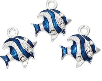 Nautical pendants etsy diy fish charms fish pendants create your own nautical pendants silver and blue fish charms rhinestone 3 pcs pendants aloadofball Gallery