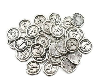 Wax Seal- Initial Charms - Wax Charms - Letter Charms - Alphabet Charms - Silver Letter Charms - Build Your Own - Round Charms