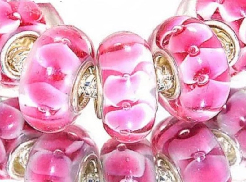 5 Pieces Pink /& White Glass Murano Lampwork Beads
