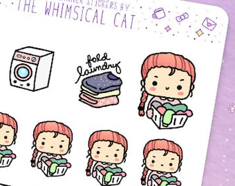 Laundry Planner Stickers, Laundry Stickers, Kawaii Laundry Planner Stickers, Cute Laundry Planner Stickers