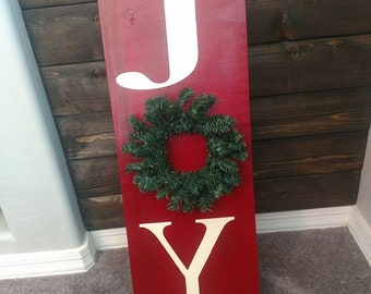 Joy Sign With Wreath Etsy