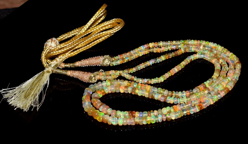Fire Opal  Wello Fire Opal A++ 16 Inches Natural Ethiopian Opal Gemstone Beads Necklace Opal Gemstone  Roundel beads Necklace  Lot189