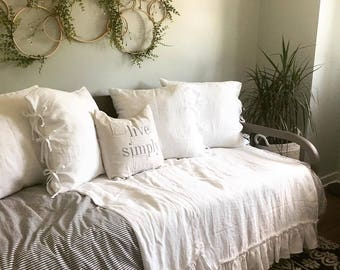 Linen Bed scarf- 15 colors- White summer blanket- ruffles linen throw-linen bedspread-linen bed cover-Available sizes #Summer Waves#