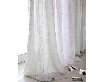 """Two linen curtains 52""""/Bedroom panels/Washed stone curtains /Livingroom Linen panels/Striped curtain/Choose your length #TwoFaced#"""