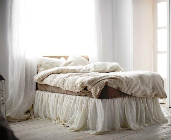 Linen Bed Skirt King.Queen Size Linen Bed Skirt 15 Colors Ruffled Bed Skirt Linen Bedding Handmade Bedskirt Choose The Drop Morning Sun