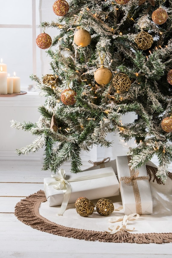 Ivory Moire Fabric Christmas Tree Skirt  Ivory Fabric Gold Braid with  Tassel Trim Faux Pearl Trim Medium Size Very Elegant  Free Shipping