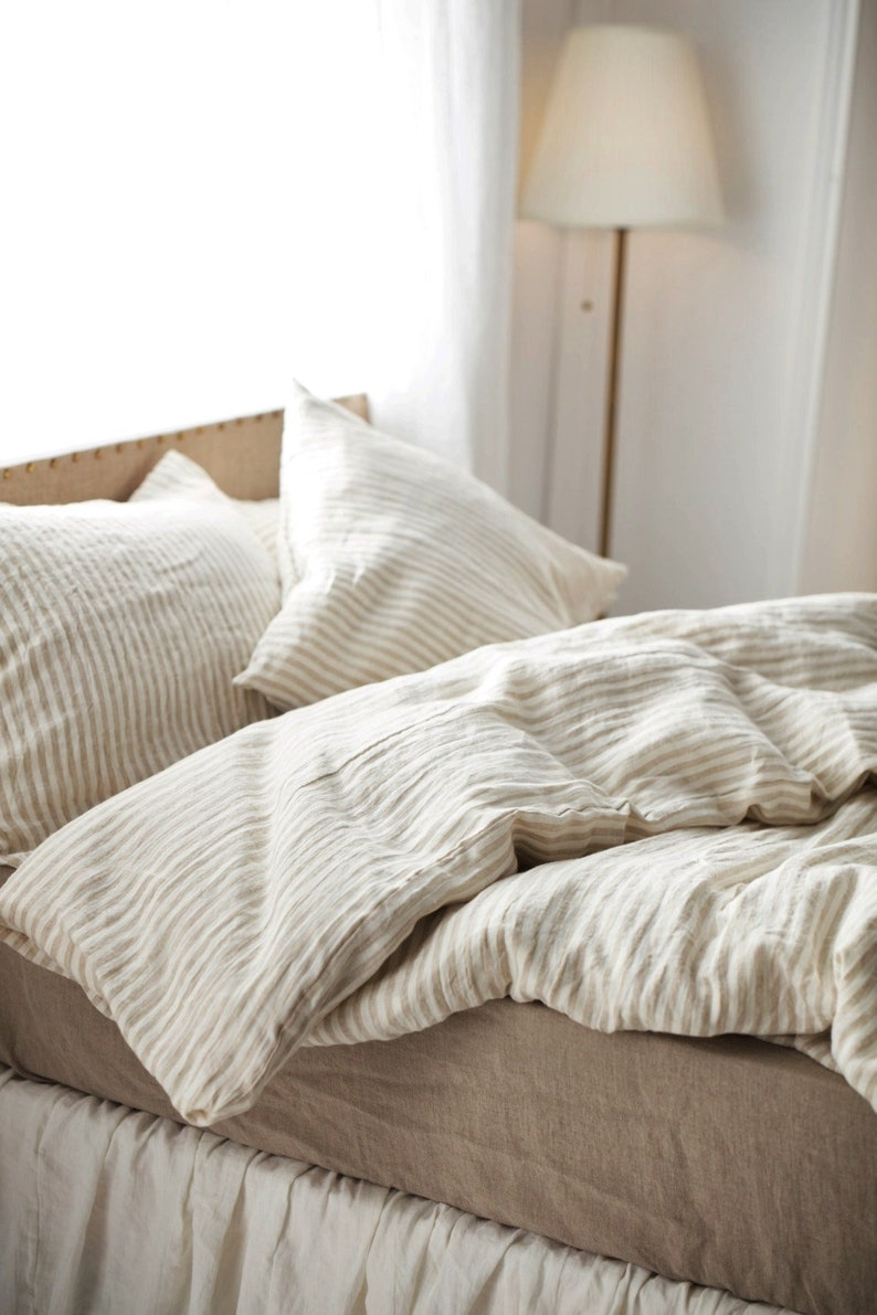 Linen Duvet cover. Stone Washed Super in flax stripes color. image 0