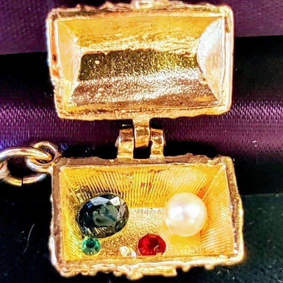 English solid 14k gold treasure chest with treasur