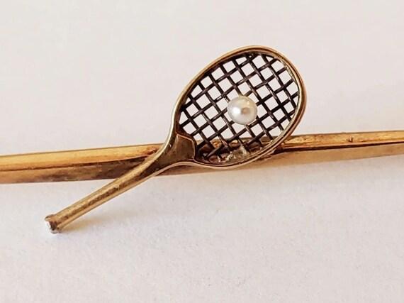 14k gold vintage tennis racket with pearl tennis b