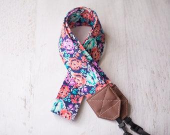 floral camera strap, dslr camera strap, slr camera, camera accessory, padded camera strap, nikon and canon, womens gift, photographer gift