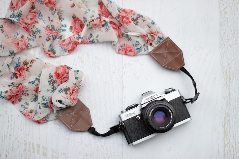 dslr slr photographer gift photography gift for her scarf camera strap camera accessory roses Camera strap floral camera strap