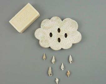 soap dish drain cloud, white ceramic, soap holder, draining soap dish, ceramic cloud