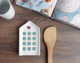 spoon rest ceramic, white ceramic spoon rest, house spoon holder, pottery spoon rest, kitchen decor, cup coaster