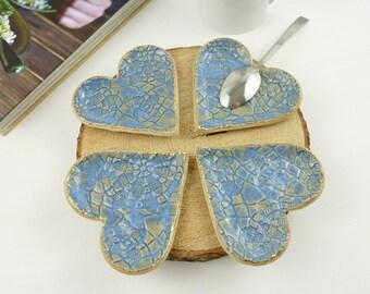 tea light holder, tealight holder, blue candle holder, ceramic heart with gold, trinket dish, tea bag rest, ring dish