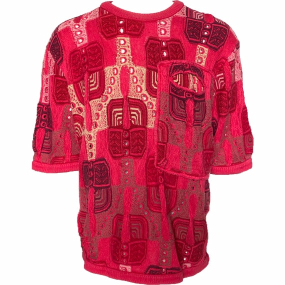 Vintage Coogi Pink Short Sleeve Crewneck Sweater