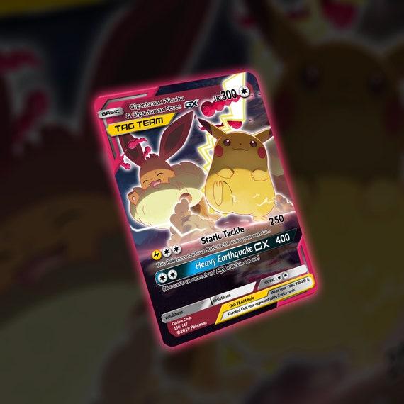 Gigantamax Eevee Pikachu Tag Team Custom Card Etsy