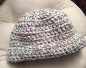 Hand crocheted grey and white beanie hat