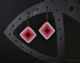 Elegant diamond shaped red gradient ombre white black polymer clay earrings