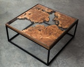 Maple Burl Live Edge Coffee Table | The Divide Series | Modern Square Steel Base | Tempered Glass | Handmade