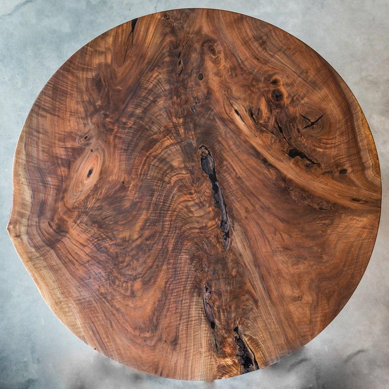 e518d0b6b8aa Black Walnut Live Edge Round Dining Table // Arbutus Legs //   Etsy