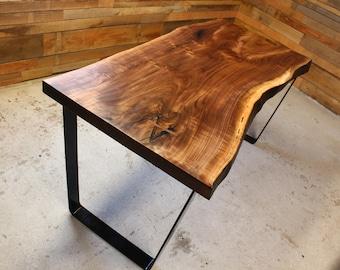 Black Walnut Live Edge Desk   Table   Handmade   Steel Base