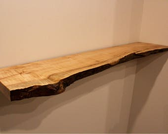 Big Leaf Maple Live Edge Floating Shelf   Bracket & Hardware Included   Bookshelf   Mantel   Handmade