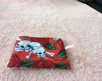 red and white skulls and roses fabric cosmetic pouch