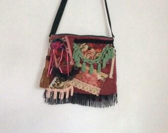 Pink Velvet antique lace fringed boho shoulder  bag