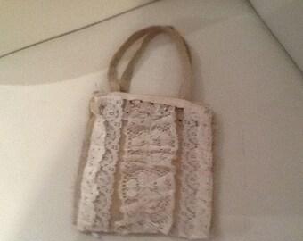 Antique lace shabby Chic Burlap anbag