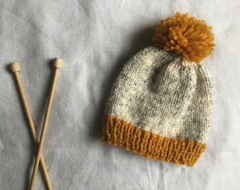 Hand Knitted Newborn Baby Beanie   Baby Beanie With Pom Pom   Baby Beanie   Knit  Baby Hat   Mustard and Oatmeal Baby Hat   Neutral Baby Hat 46d61a47dc9