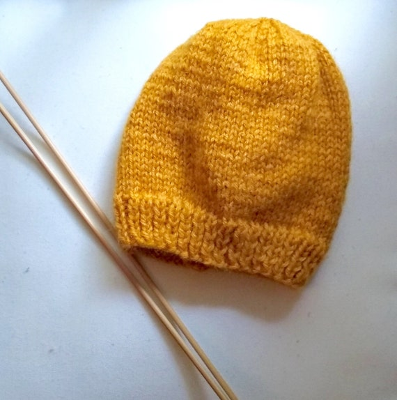 Knit Baby Hat   Baby Beanie   Knit Toddler Hat   Mustard Baby  857771aa838
