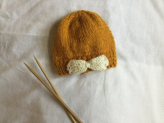 Hand Knit Baby Beanie   Hand Knit Baby Hat   Knit Baby Hat  3e334d9f48d
