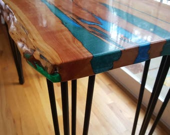 Resin River, Live Edge Wood Table, Live Edge Coffee Table, Example Of  Custom Work, Live Edge Sofa Table, Handcrafted, Handmade, Rustic