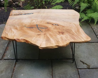 IN STOCK, Live Edge Wood, Coffee Table, Resin River, Maple Slab, Live Edge  Wood And Resin, Live Edge Slab, Resin River, Blue, Resin Table