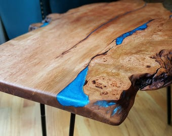 Live edge wood coffee table- Custom order example, resin river, cherry wood burl, live edge wood and resin, resin river, handcrafted, rustic