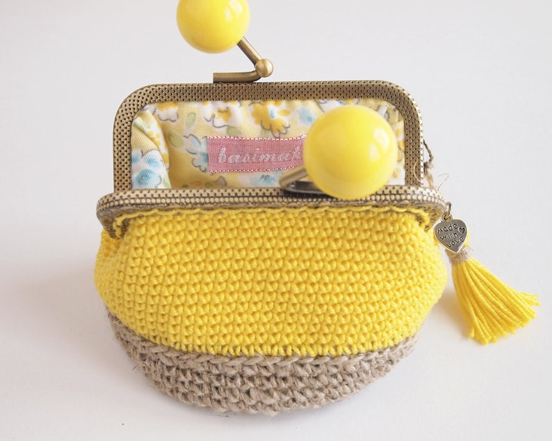 yellow cotton and line crochet wallet ecofriendly gift idea for woman Rustic and chic small purse for woman kiss lock crochet coin purse
