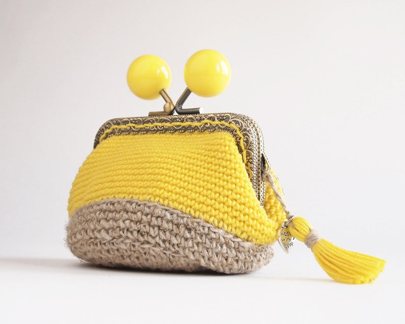 bd0bfc91e02a Rustic and chic small purse for woman, kiss lock crochet coin purse,  ecofriendly gift idea for woman, yellow cotton and line crochet wallet