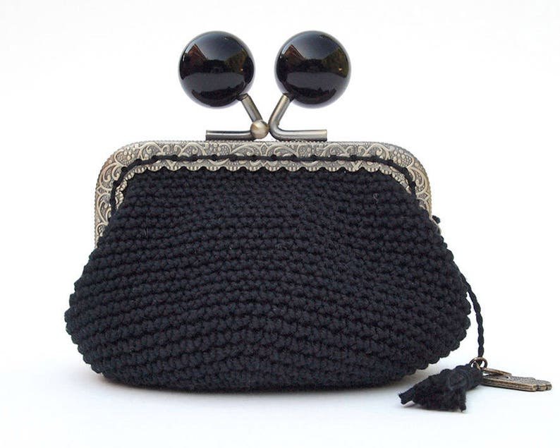black coin purse everyday woman accessory Vintage style woman coin purse everyday small coin purse vintage style black coin purse