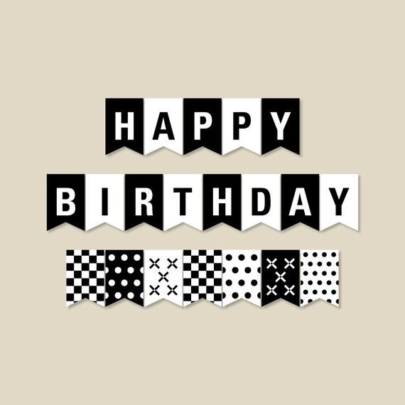 Black And White Birthday Banner Birthday Party Decorations Etsy