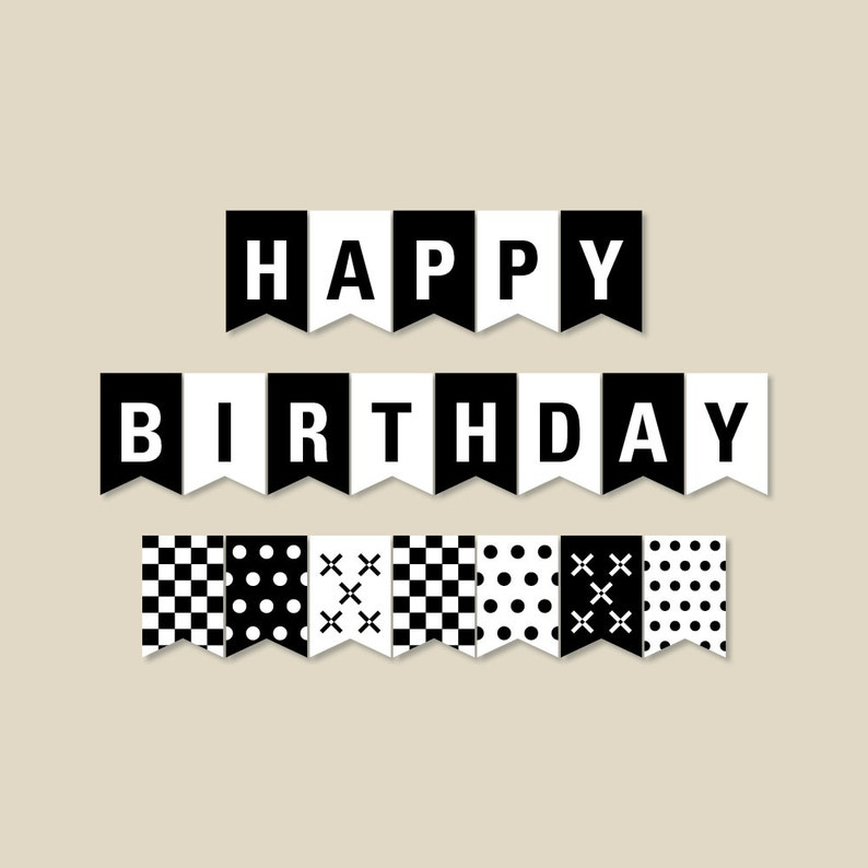 image about Happy Birthday Banner Printable Pdf known as Black and White Birthday Banner, Birthday Get together Decorations, Pennant Banner, Printable PDF record, Instantaneous Obtain (#301)