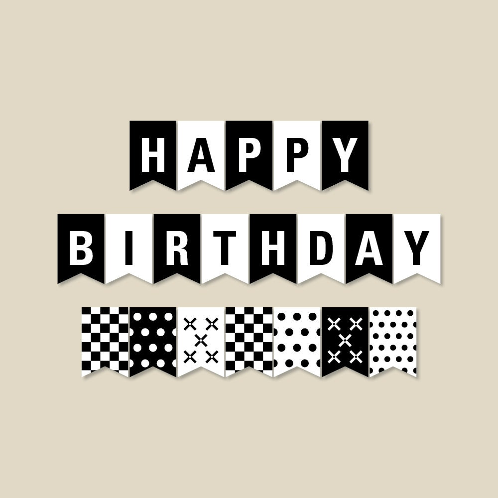 Black And White Birthday Banner Birthday Party Decorations