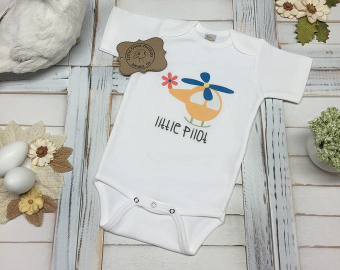 Featured listing image: Cute Little Pilot Text with Colorful Helicopter Aviation/Flight Design! Boys Gift Idea! Available as a Bodysuit (Onesie) or Toddler T-Shirt!