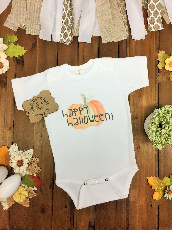 51316d6153f0 Text with Cute Watercolor Pumpkin Design! Baby s Halloween Costume Bodysuit( Onesie)