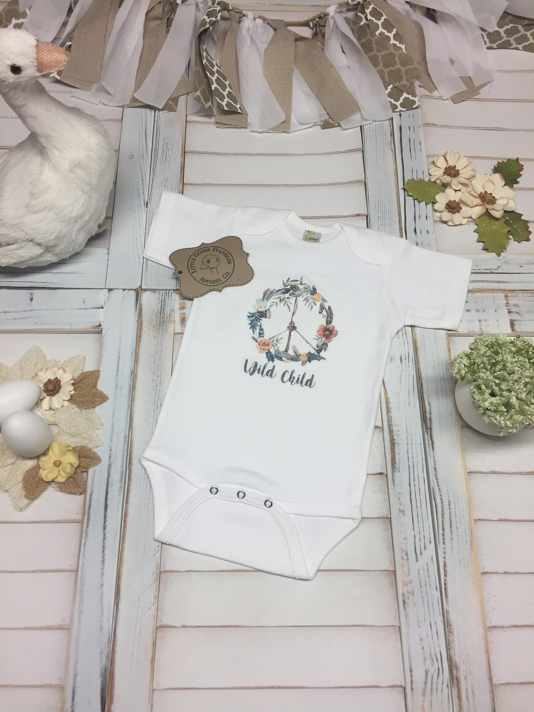 ac6e7cfcf3 Wild Child Text with Boho Style Floral Peace Wreath Design! Cute Girls Gift  Idea! Bodysuit(Onesie)