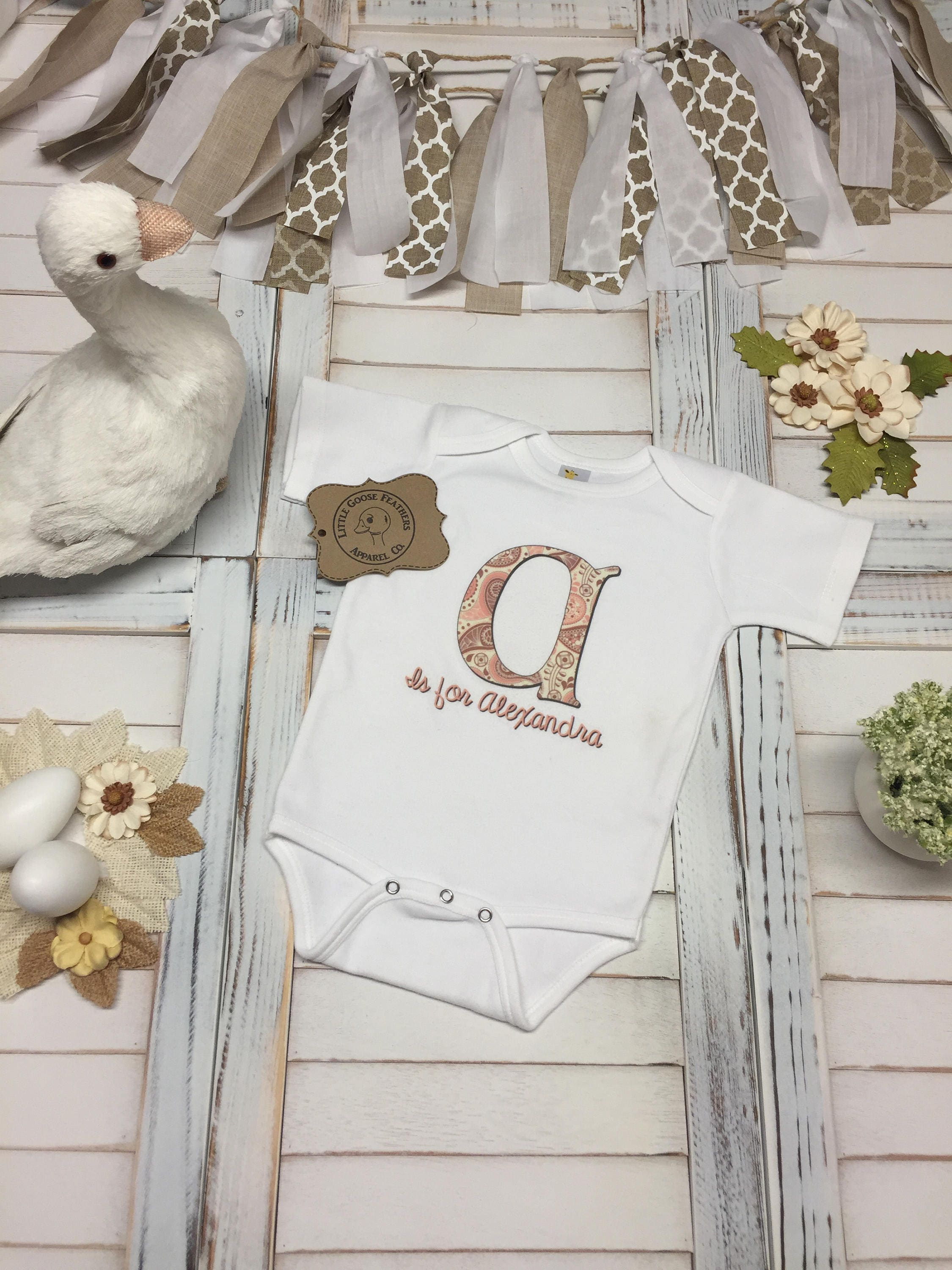 ed9d47c25 Custom Name with Pink Paisley Pattern for First Letter of Name Design!  Available as Bodysuit(Onesie), Toddler T-Shirt or Girls Fringe Dress!
