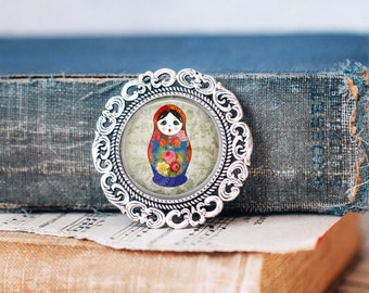 brooch collection Babushka Russian doll weaved with glass beads Kilt pin