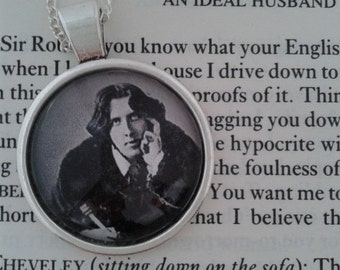 Oscar Wilde Glass Pendant on Silver Chain