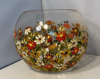 Glass Bowl. Fall Floral Bowl. Hand Painted Glass Bowl. Round Glass Bowl. Pumpkin shaped Bowl. Fall Floral Glass Bowl. Autumn Colorful Bowl.