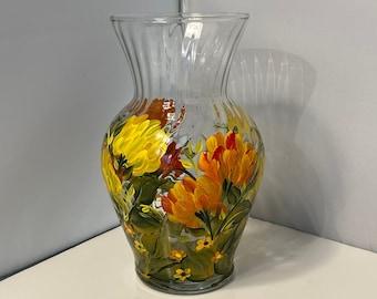 Fall Vase. Vase with Chrysanthemums. Autumn Glass Vase. Hand Painted Vase. Painted Vase for Fall. Chrysanthemums on Vase. Fall Floral Vase.